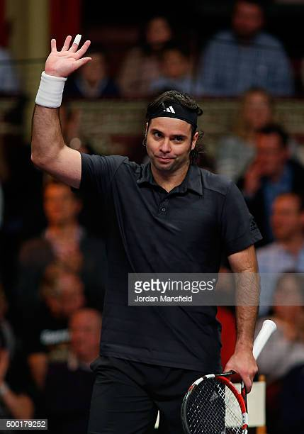 Fernando Gonzalez of Chile celebrates after winning the ATP Champions Tennis Final match against Tim Henman of Great Britain during day five of the...