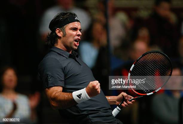 Fernando Gonzalez of Chile celebrates in the ATP Champions Tennis Final match against Tim Henman of Great Britain during day five of the Masters...