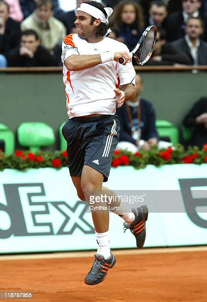 Fernando Gonzalez of Chile during his game against Marat Safin of Russia in the first round of the French Open, at Roland Garros in Paris, France on...
