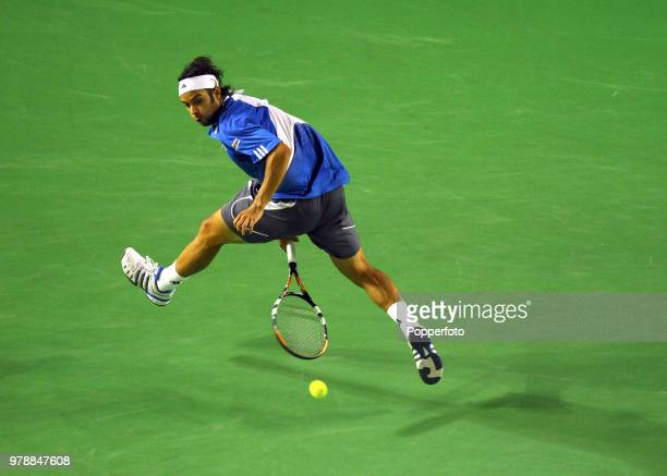 Fernando Gonzalez of Chile enroute to winning his semi-final match on Day 12 of the Australian Open at Melbourne Park on January 26, 2007.