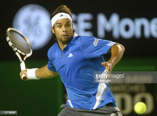Fernando Gonzalez of Chile, in action defeating Spain's Rafael Nadel 6-2, 6-4, 6-3 in the quarter final of the Australian Open, Melbourne Australia