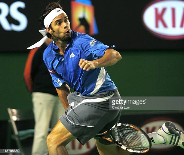 Fernando Gonzalez of Chile, in action, defeating Tommy Haas of Germany, 6-1, 6-2, 6-1, in the semi-final of the Australian Open, Melbourne, Australia