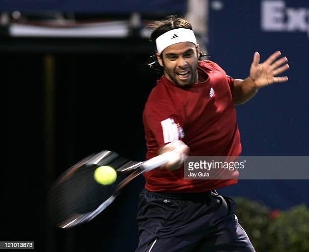 Fernando Gonzalez of Chile in action tonight vs Roger Federer in their semi- final match at the Rogers Cup ATP Master Series tennis tournament at the...