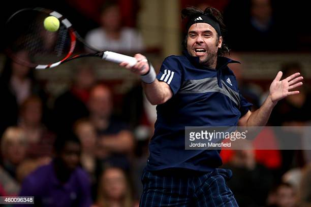 Fernando Gonzalez of Chile plays a forehand during the ATP Champions Tour Final match against Andy Roddick of the USA on day five of the Statoil...