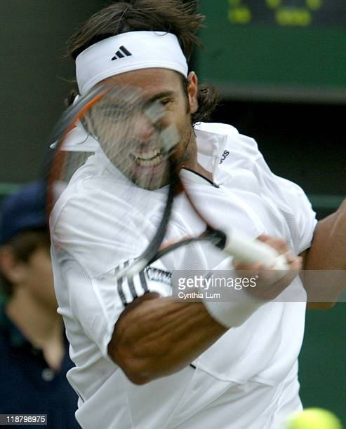 Fernando Gonzalez, of Chili, in action defeating Alejandro Falla of Columbia, 4-6, 6-4, 6-3, 7-6 during the second round of the 2007 Wimbledon...