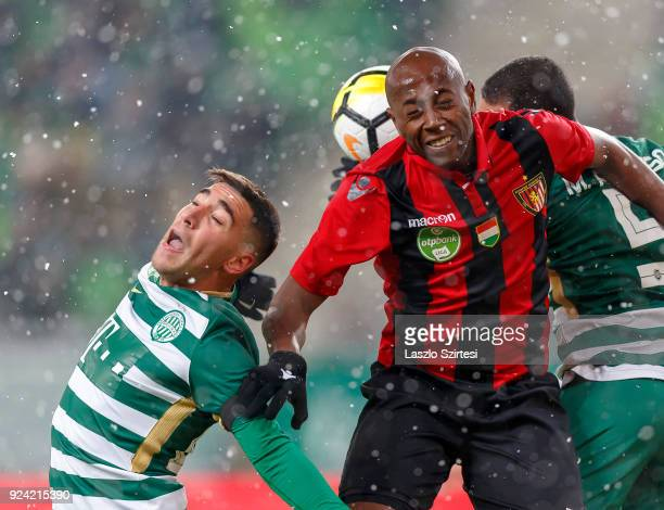 Fernando Gorriaran of Ferencvarosi TC and Marcos Pedroso of Ferencvarosi TC battles for the ball in the air with Danilo Cirino de Oliveira 'Danilo'...