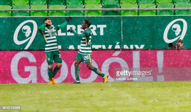 Fernando Gorriaran of Ferencvarosi TC celebrates his goal with Joseph Paintsil of Ferencvarosi TC during the Hungarian OTP Bank Liga match between...
