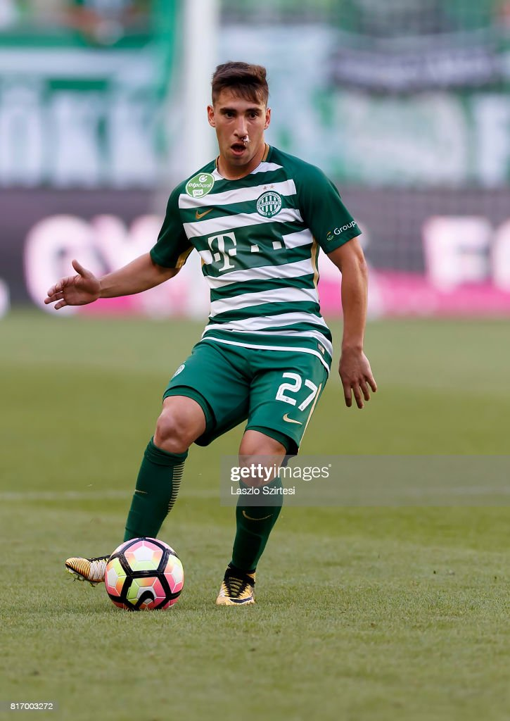 Fernando Gorriaran of Ferencvarosi TC passes the ball during the Hungarian OTP Bank Liga match between Ferencvarosi TC and Puskas Akademia FC at Groupama Arena on July 16, 2017 in Budapest, Hungary.
