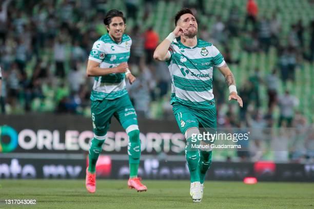 Fernando Gorriaran of Santos celebrates after scoring the first goal of his team during the playoff match between Santos Laguna and Queretaro as part...