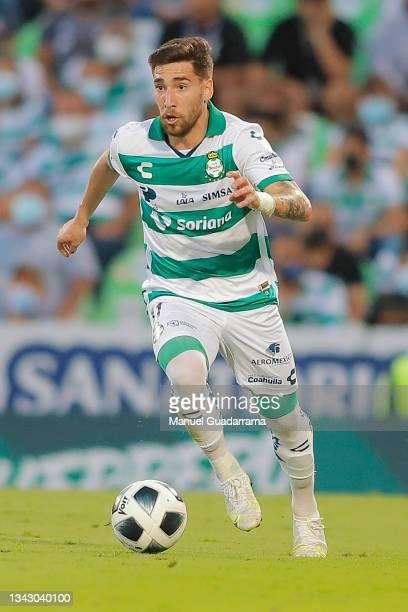 Fernando Gorriaran of Santos controls the ball during the 10th round match between Santos Laguna and Monterey as part of the Torneo Grita Mexico A21...