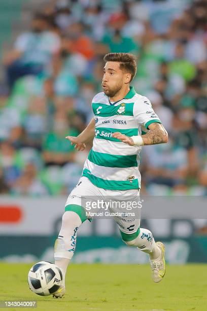 Fernando Gorriaran of Santos contros the ball during the 10th round match between Santos Laguna and Monterey as part of the Torneo Grita Mexico A21...