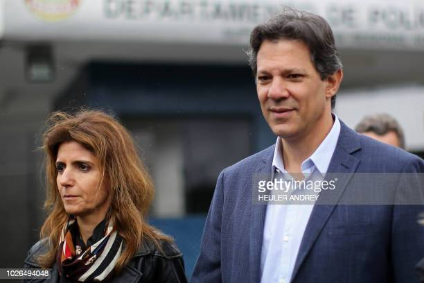 Fernando Haddad presumed to be former President Luiz Inacio Lula da Silva's replacement candidate in the presidential elections accompanied by his...