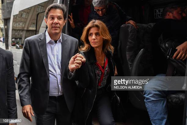 Fernando Haddad presumed to be former President Luiz Inacio Lula da Silva's replacement candidate in the presidential elections and his wife Ana...