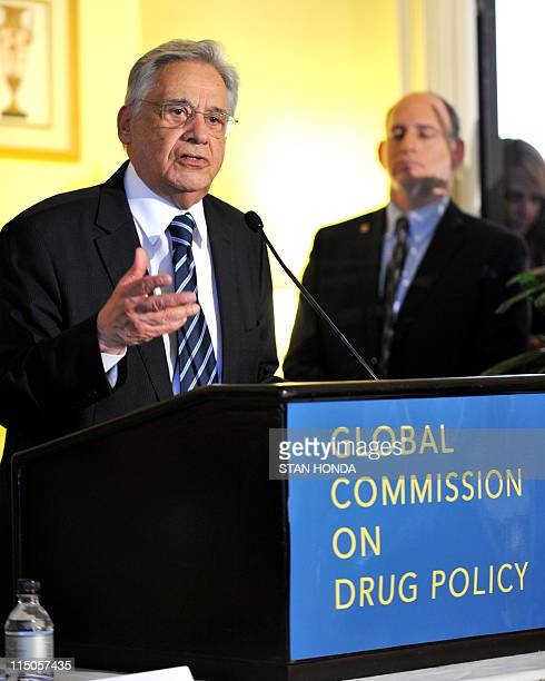 Fernando Henrique Cardoso former president of Brazil and chair of The Global Commission on Drug Policy speaks at a press conference June 2 2011 in...