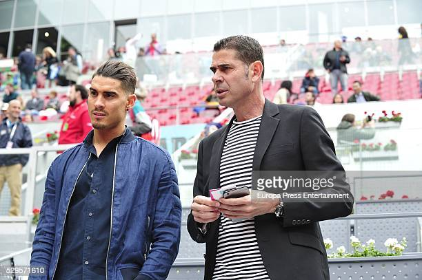 Fernando Hierro and his son Alvaro Hierro attend the tennis match during 8th day of the Mutua Madrid Open tennis tournament at La Caja Magica on May...