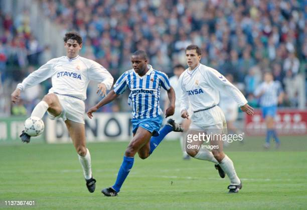 Fernando Hierro and Jesus Solana battle for the ball with Real Sociedad striker Dalian Atkinson during a match at the Bernabeu between Real Madrid...