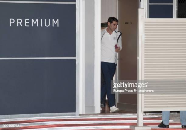 Fernando Hierro arrives at Barajas Adolfo Suarez international airport on July 2 2018 in Madrid Spain