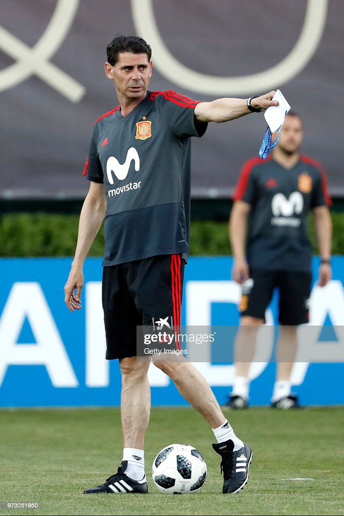 Fernando Hierro, Head coach of Spain gives instructions during the Spain Training Session ahead of the FIFA World Cup Russia 2018 on June 13, 2018 in Krasnodar, Russia.