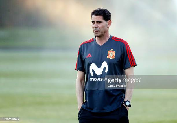 Fernando Hierro Head coach of Spain looks on during the Spain Training Session ahead of the FIFA World Cup Russia 2018 on June 13 2018 in Krasnodar...