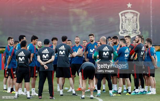 Fernando Hierro Head coach of Spain speaks to the players during the Spain Training Session ahead of the FIFA World Cup Russia 2018 on June 13 2018...