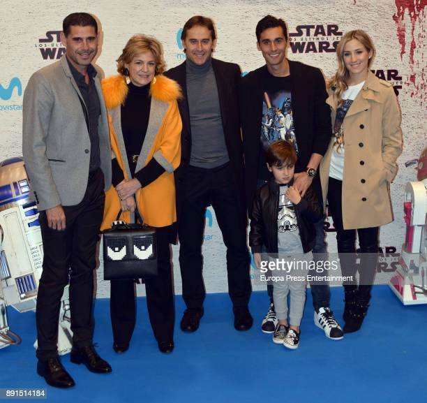 Fernando Hierro Julen Lopetegui Alvaro Arbeloa and his wife Carlota Ruiz and their son attend the 'Star Wars Los Ultimos Jedi' Madrid Premiere at...