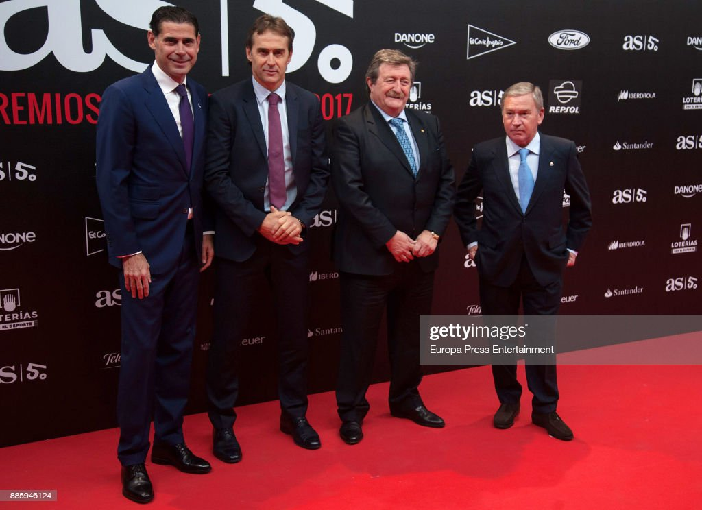 Fernando Hierro, Julen Lopetegui, Juan Luis Larrea and Javier Clemente attend the 'As del Deporte' and 'As' sports newspaper 50th anniversary dinner at the Palacio de Cibeles on December 4, 2017 in Madrid, Spain.