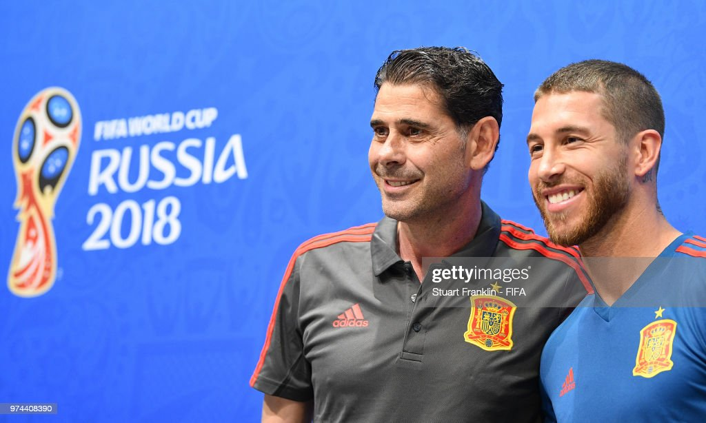 Fernando Hierro, newly appointed head coach of Spain and Sergio Ramos pose for a picture during a press conference prior to training of the Spanish national football team at Fisht Stadium on June 14, 2018 in Sochi, Russia.