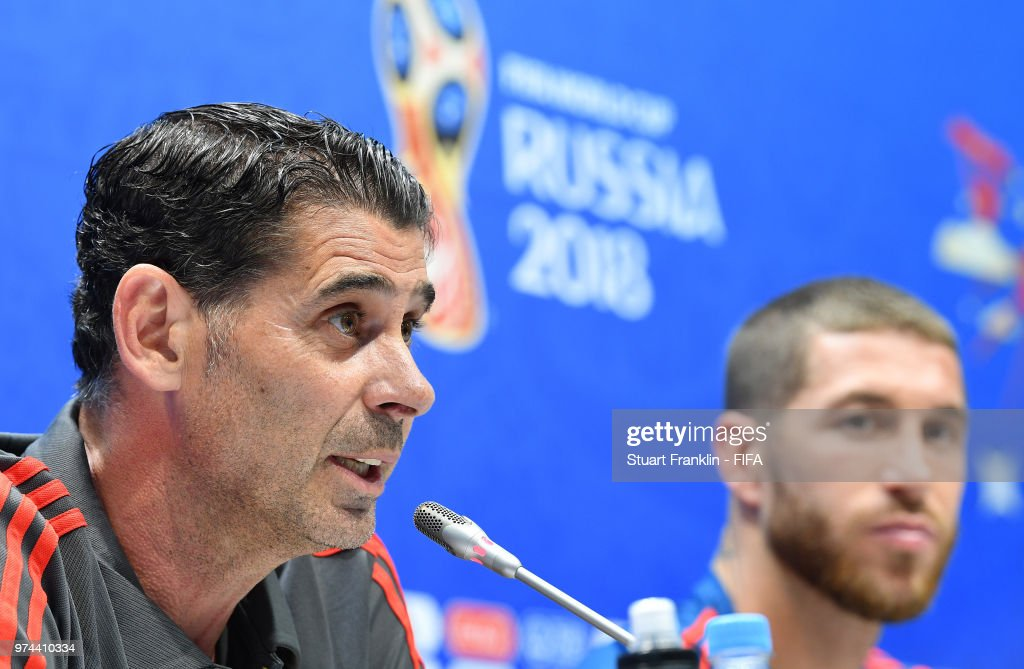 Fernando Hierro, newly appointed head coach of Spain and Sergio Ramos talk to the media during a press conference prior to training of the Spanish national football team at Fisht Stadium on June 14, 2018 in Sochi, Russia.