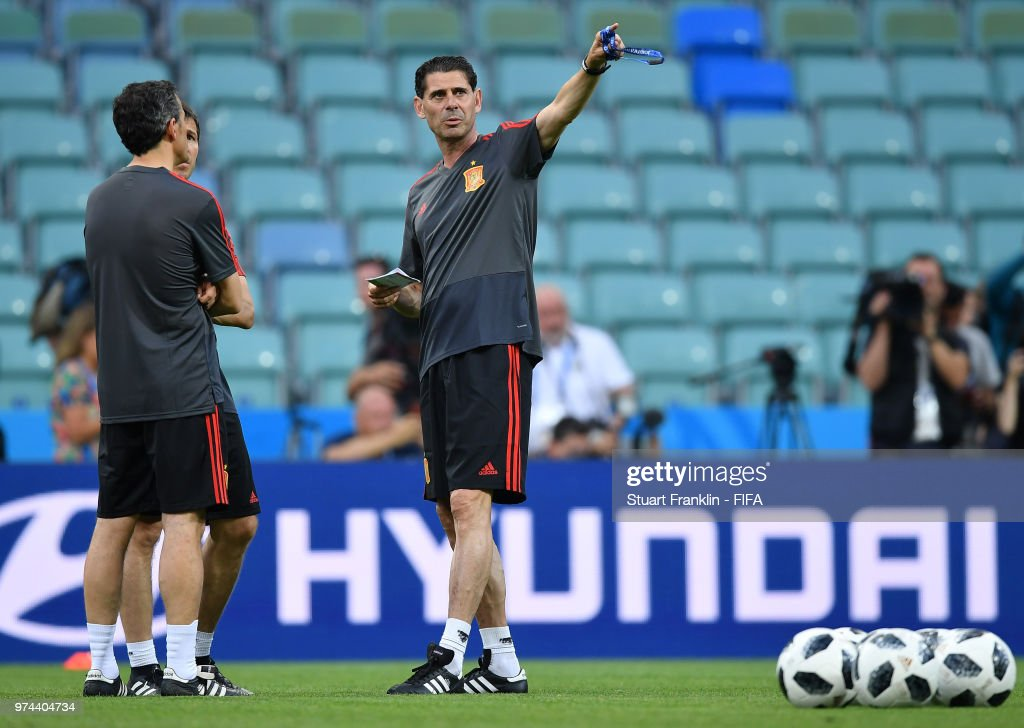 Fernando Hierro, newly appointed head coach of Spain gestures to his assistants during training of the Spanish national football team at Fisht Stadium on June 14, 2018 in Sochi, Russia.