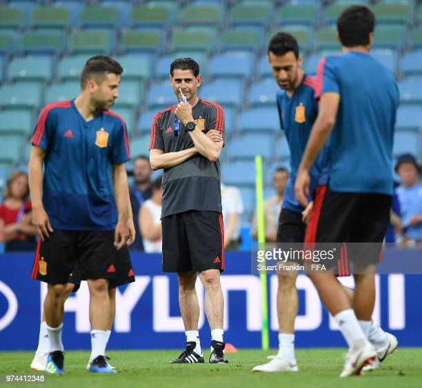 Fernando Hierro newly appointed head coach of Spain ponders during training of the Spanish national football team at Fisht Stadium on June 14 2018 in...
