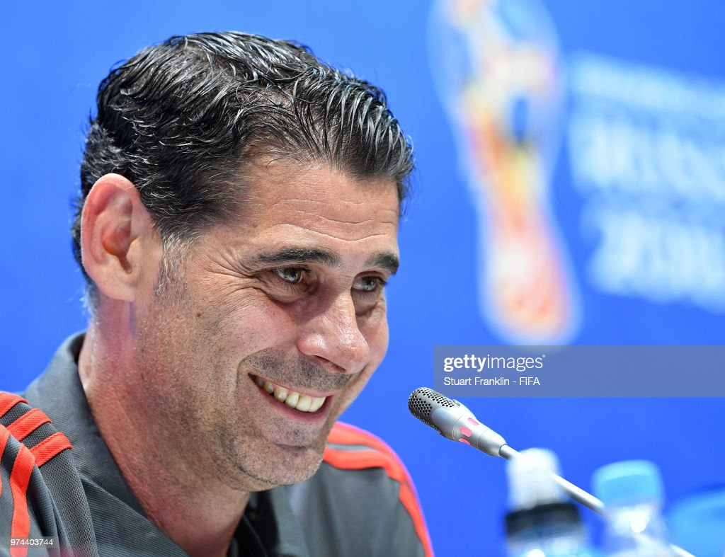 Fernando Hierro, newly appointed head coach of Spain talks to the media during a press conference prior to training of the Spanish national football team at Fisht Stadium on June 14, 2018 in Sochi, Russia.