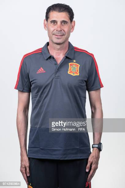 Fernando Hierro of Spain poses during the official FIFA World Cup 2018 portrait session at Fisht Olympic Stadium on June 14 2018 in Sochi Russia