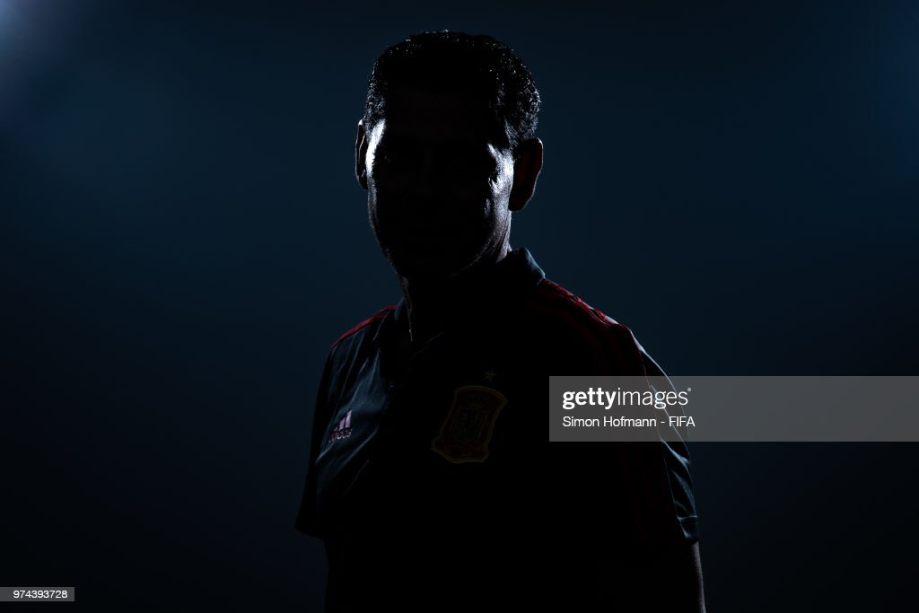 Fernando Hierro of Spain poses during the official FIFA World Cup 2018 portrait session at Fisht Olympic Stadium on June 14, 2018 in Sochi, Russia.