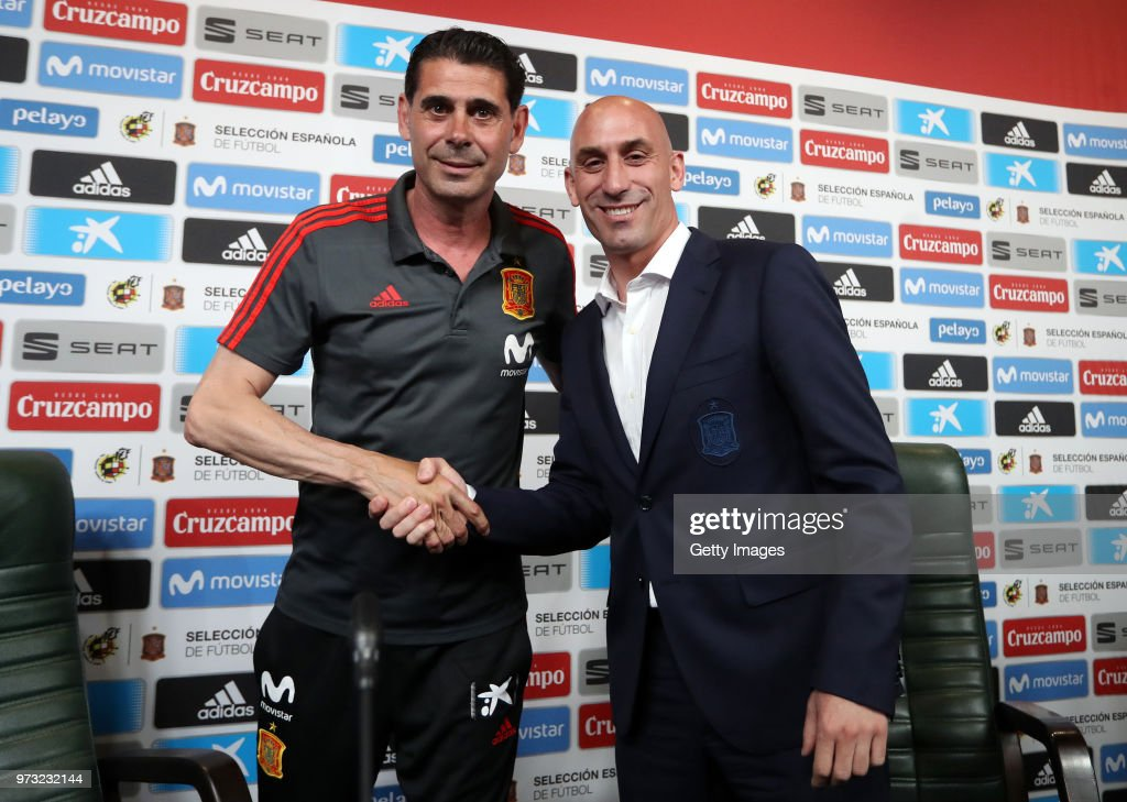 Fernando Hierro (L) shakes hands with Luis Manuel Rubiales after he was appointed the new head coach of Spain during the Spain Press Conference ahead of the FIFA World Cup Russia 2018 on June 13, 2018 in Krasnodar, Russia.