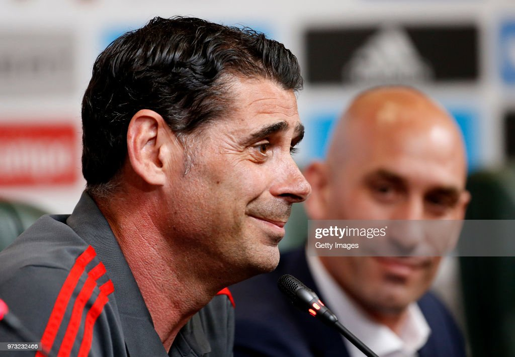 Fernando Hierro speaks to the media after he was appointed the new head coach of Spain during the Spain Press Conference ahead of the FIFA World Cup Russia 2018 on June 13, 2018 in Krasnodar, Russia.