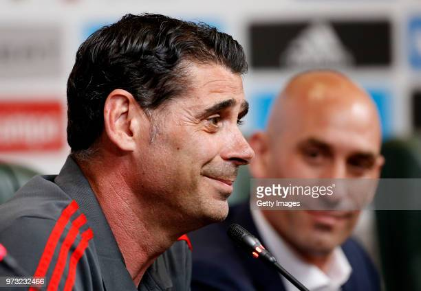 Fernando Hierro speaks to the media after he was appointed the new head coach of Spain during the Spain Press Conference ahead of the FIFA World Cup...