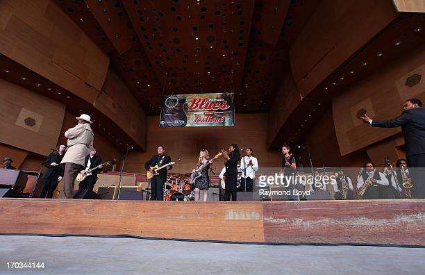 Fernando Jones' Blues Kids Of America backed by the Gwendolyn Brooks Jazz Band under the direction of Roosevelt Griffin performs at the Jay Pritzker...