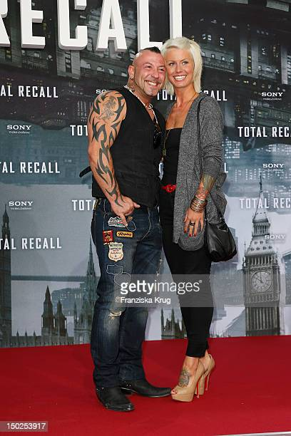 Fernando Jose della Vega and Pia Tillmann attend the German premiere of 'Total Recall' at Sony Center on August 13 2012 in Berlin Germany