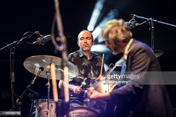 Fernando Lamas , drummer of Xoel López, perfoms on stage on July 21, 2019 in Santiago de Compostela, Spain.