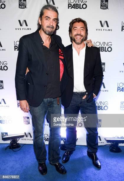 Fernando Leon de Aranoa and Javier Bardem attend the RBC hosted Loving Pablo cocktail party at RBC House Toronto Film Festival 2017 on September 12...