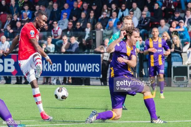 Fernando Lewis of Jong AZ Jordy Zwart of VVSBduring the Dutch Eredivisie match between young AZ Alkmaar and VVSB at AFAS Trainingscomplex on April 02...