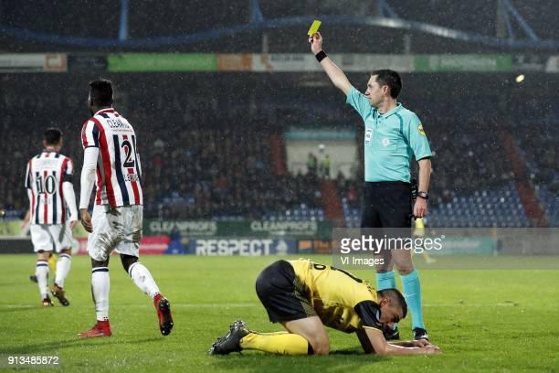 Fernando Lewis of Willem II Donis Avdijaj of Roda JC referee Dennis Higler during the Dutch KNVB quarter final match between Willem II Tilburg and...