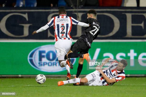 Fernando Lewis of Willem II Younes Namli of PEC Zwolle Freek Heerkens of Willem II during the Dutch Eredivisie match between Willem II v PEC Zwolle...