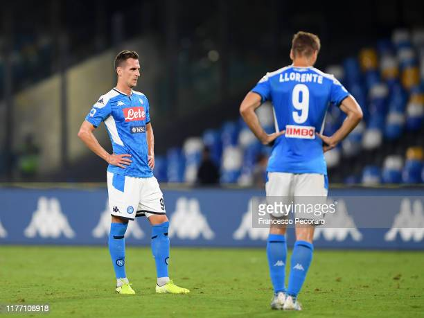 Fernando Llorente and Arkadiusz Milik of SSC Napoli stand disappointed during the Serie A match between SSC Napoli and Cagliari Calcio at Stadio San...