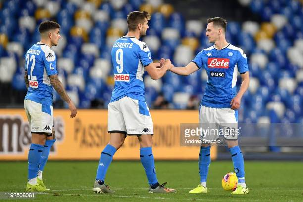 Fernando Llorente and Arkadiusz Milik shake hands during the serie A football match between SSC Napoli and FC Internazionale FC Internazionale won 31...