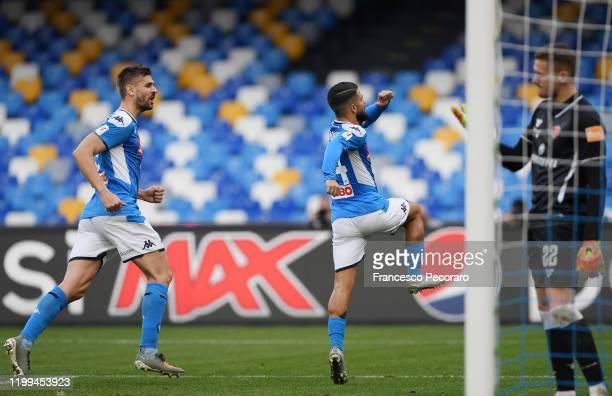 Fernando Llorente and Lorenzo Insigne of SSC Napoli celebrate the 20 goal scored by Lorenzo Insigne beside the disappointment of Andrea Fulignati of...