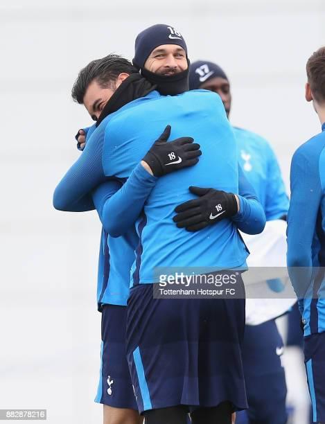 Fernando Llorente and Paulo Gazzaniga of Tottenham during the Tottenham Hotspur training session at Tottenham Hotspur Training Centre on November 30...