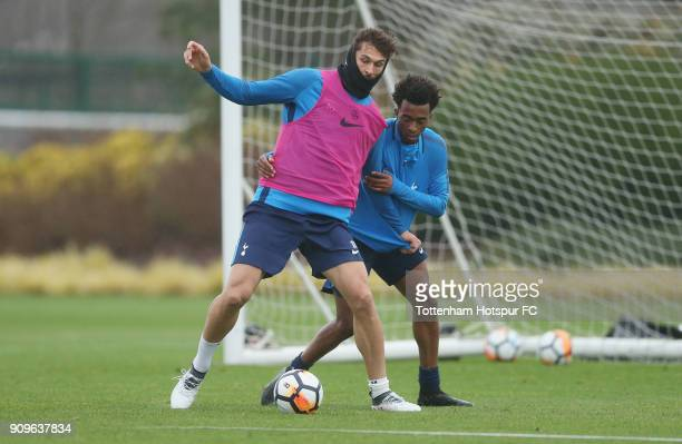 Fernando Llorente and Tashan OakleyBoothe of Tottenham Hotspur during the Tottenham Hotspur training session at Tottenham Hotspur Training Centre on...