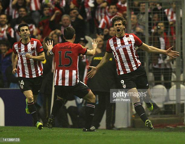 Fernando Llorente of Athletic Club of Bilbao celebrates scoring their first goal during the UEFA Europa League Round of 16 second leg match between...