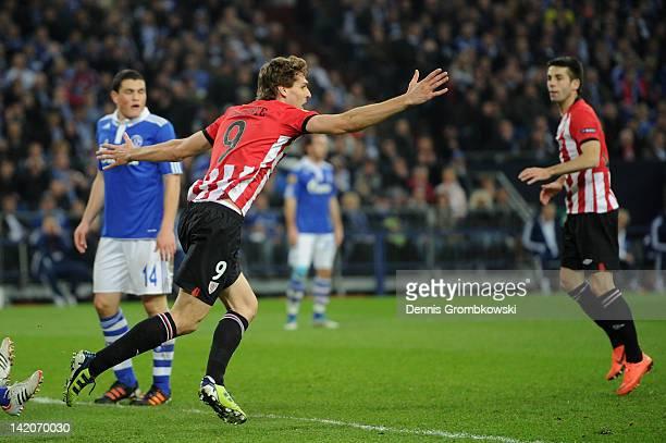 Fernando Llorente of Bilbao celebrates after scoring his team's opening goal during the UEFA Europa Leauge quarter final first leg match between FC...
